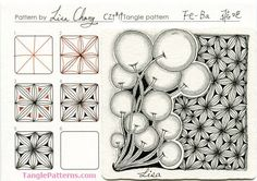 Online instructions for drawing CZT® Lisa Chang's Zentangle® pattern: Fe-Ba. Tangle Doodle, Tangle Art, Doodles Zentangles, Zen Doodle, Doodle Designs, Doodle Patterns, Zentangle Patterns, Doodle Lettering, Doodle Inspiration