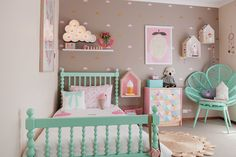 Girls Toddler Room / Pink/Gold/Turquoise - cute gold stickers on walls