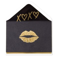 Gold Lips on Black Card