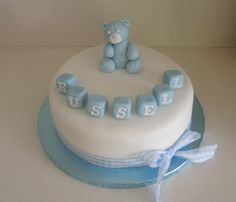 Teddy Baby Boy Birthday/Christening Cake Baby Boy Birthday, Birthday Cake, Christening Cakes, Celebration Cakes, First Birthdays, Boutique, Desserts, Food Cakes, Baptism Cakes