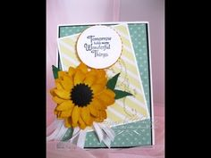 Would you like to make beautiful hand made greetings cards ? Card making is the most relaxing hobby I can think of. It keeps my creative juices flowing . Diy Paper, Paper Crafts, Sunflower Cards, How To Make Paper Flowers, Flower Template, Card Making Techniques, Card Tutorials, Flower Making, Craft Videos