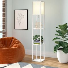 Zipcode Design Ariana Column Floor Lamp Base Color: White, Shade Color: Off-White End Tables With Storage, Coffee Table With Storage, Floating Entertainment Center, Muebles Living, Swivel Barrel Chair, Etagere Bookcase, Ladder Bookcase, Sofa, Swansea