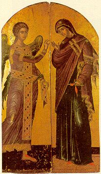 Annunciation of the Virgin Mary- Royal Gate (Vimothira) - 1546 μ. Byzantine Icons, Byzantine Art, Religious Icons, Religious Art, Symbolic Art, Paint Icon, Angel Images, Renaissance Artists, Russian Icons