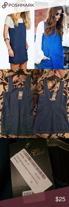 NWT Boohoo Denim Pinafore Polly Pocket Dress Pinafore jumper dress in dark wash denim from Boohoo! Features square neckline and large front pockets. I accidentally ordered the wrong size and it is too big on me! Size 10 NWT--never been worn!! ASOS Dresses Mini