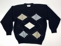 Pringle of Scotland M/L Argyle Sweater 100% LambsWool Made in Scotland Black #PringleofScotland #Crewneck