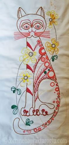 Jafabrit's Art: 1970's Vintage Cat Embroidery