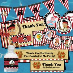 """Jake and the Neverland Pirates Digital Party Decorations- Favor Tags, Thank You Notes, 2"""" Circles, Food Labels and More"""