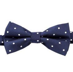 Men's Bow Tie Pre-Tied Navy Blue Polka Dots Dot (X325-BT) Bowtie Neck Bow Ties Bowties Men Tuxedo Wedding Formal Necktie Neckties