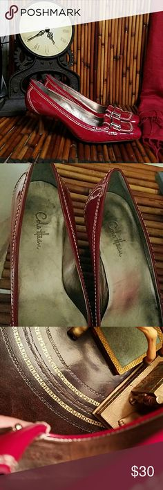 """COLE HAAN SHOES Red patent Cole Haan Shoes. Silver buckle, rubber sole, and white accent stitching. It has a unnoticeable scuff mark (see 3rd picture please). 2""""in. Heels, very comfortable. Size 6 1/2 B, narrow fit. Excellent wear condition. Made in Brazil Cole Haan Shoes Heels"""
