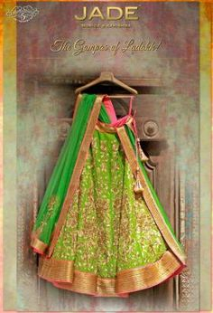 Bridal Lehengas - Parrot Green and Gold Border with Gold Zari Work | WedMeGood #wedmegood #parrot #green #zari
