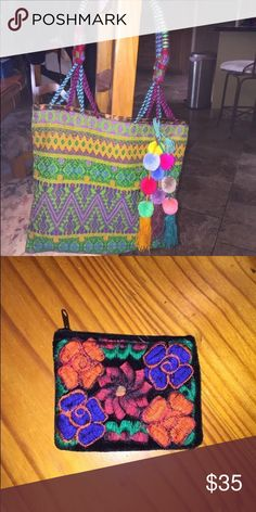"Handmade Purse from Mexico with coin purse. Handmade Purse from Mexico with hand stitched coin purse. Purse has a 9.5"" drop. 13""x13""x2"". Beautiful Colors. Perfect for the summer. New Bags Shoulder Bags"