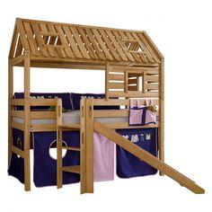 Spielbett Tom´s Hütte (mit Rutsche) - Buche massiv/Textil - Geölt/Kleider   Home24