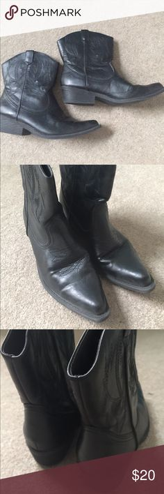 Short black cowboy boots All man-made material SO Shoes Ankle Boots & Booties