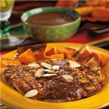 Mole - Grilled chipotle-dusted turkey cutlets served with roasted ...
