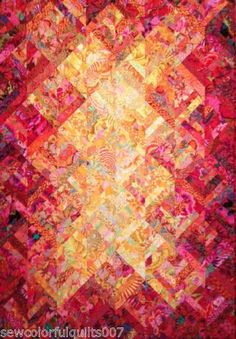 Love the gradiation of colors Candy Queen Sunset Quilt Kit Kaffe Fassett Collective Fabrics Bargello Quilts, Batik Quilts, Jellyroll Quilts, Scrappy Quilts, Cotton Quilts, Quilting Projects, Quilting Designs, Watercolor Quilt, Quilt Modernen