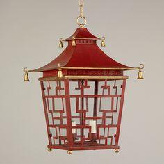 "Chinese Fretwork Lantern 20"" x 13"" Vaughan"