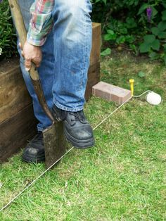 Learn how to install a strip of bricks that will not only accent your outdoor space but also make cutting the grass easier.
