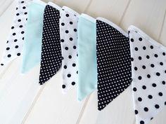 Dekoration - Wimpelkette, mint, schwarz, weiß  - ein Designerstück von Le-Petit-Villa bei DaWanda