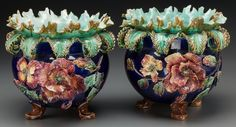 Pair of French Majolica Jardinières late 19th c.