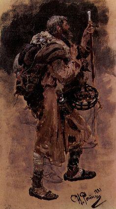 A Pilgrim Painting Ilya Repin, Art Sketches, Art Drawings, Prehistoric Animals, Art Database, Office Art, Russian Art, Old Master, Pilgrim