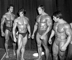 Lou Ferrigno, Frank Zane, Arnold Schwarzenegger & Franco Columbu