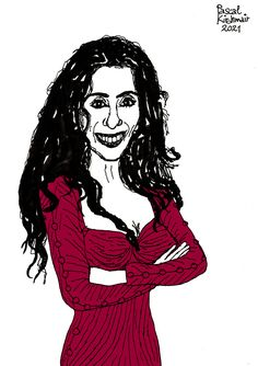 """Timna Brauer (Hebrew: תמנע בראואר; born May 1, 1961) is an Austrian-Israeli singer-songwriter, and the daughter of painter, writer and singer Arik Brauer. She collaborates with the Israeli pianist Elias Meiri and represented Austria at the Eurovision Song Contest 1986, singing """"Die Zeit ist einsam"""" (English: Time is Lonely). (Quoted from Wikipedia.org) . . Ink on paper (coloured with Photoshop), 21 x 29,7 cm Caricatures, English Time, May 1, Disney Characters, Fictional Characters, Singing, Writer, Cartoons, Daughter"""