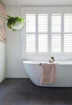 The Block 2018 challenge apartment: in Bianca and Carla's ensuite the freestanding bathtub makes the most of its sunny position. Bathroom Renos, Bathroom Furniture, Bathroom Tubs, Bathroom Ideas, Bathroom Windows, Bathroom Goals, Family Bathroom, Bathroom Inspo, Small Bathroom