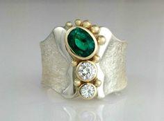 Beautiful Jewelry Emerald Empower tapered comfort fit Ring with heirloom Diamonds Diamond Jewelry, Silver Jewelry, Vintage Jewelry, Fine Jewelry, Diamond Bracelets, Crystal Jewelry, Music Jewelry, Quartz Jewelry, Amethyst Jewelry