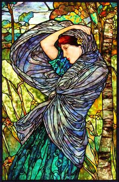 Boreas Stained Glass Window, based on a painting by John William Waterhouse, Century Studios, 2012 Stained Glass Patterns, Stained Glass Art, Stained Glass Windows, Art Nouveau, Mosaic Art, Mosaic Glass, John William Waterhouse, Morris, Art Of Glass