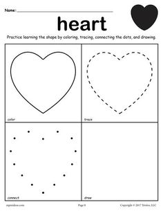Heart shape worksheets and heart shape identification activities for pre-school and kindergarten. Learn the heart shape by coloring, tracing, connecting the dots and drawing with My Teaching Station printable Learning Shapes worksheet. Shape Worksheets For Preschool, Shape Tracing Worksheets, Shapes Worksheet Kindergarten, Tracing Shapes, Printable Worksheets, Preschool Activities, Shapes Worksheet Preschool, Literacy Worksheets, Math Literacy