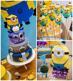 Minion themed birthday party with Lots of Cute Ideas via Kara's Party Ideas! Full of decorating tips, cake, cupcakes, games, favors, printab...