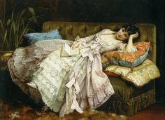 Sweet Doing Nothing by Auguste Toulmouche, 1877 - France