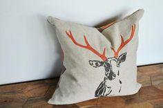 Printed Deer Head Linen Pillow Covers.
