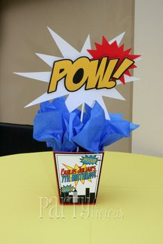 Centerpieces   Partylicious: Birthday: {Marvelous Superhero Party} & Feature!