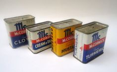Tins of spices before plastic took over.