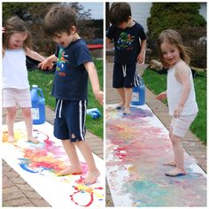 kids having fun painting with feet from Homegrown Friends