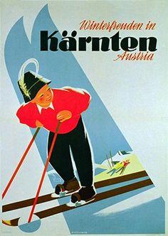 Ski Vintage Poster, Carinthia 1955