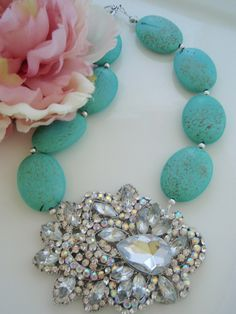 Turquoise Howlite with Crystal Brooch Necklace. Gorgeous!