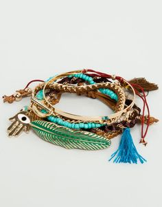 Pull&Bear - woman - jewellery - pack of 8 assorted bracelets - gold - 05996374-V2014