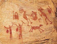 Pintura rupestre, Serra da Capivara, Brasil.                                                                                                                                                      Mais