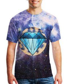 5e7118add0f1 3D galaxy diamond t shirt for men short sleeve Diamond T Shirt