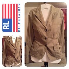 Ralph Lauren 100% Cotton Jacket Ralph Lauren 100% Cotton Jacket. Looks like it's close to a Olive Green color. Size Medium. Laying flat Arm to Arm is 19. The length is 26.  This item is in Good condition, Authentic and from a Smoke And Pet free home. All Offers through the offer button ONLY. I Will not negotiate Price in the comment section. Thank You Ralph Lauren Jackets & Coats