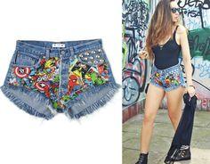 Marvel shorts Superheroes denim shorts High waist by DSMjeans