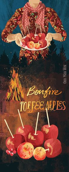 An illustrated recipe for toffee apples that captures the essence of the warm glow of a outdoors bonfire on a crisp Autumn evening Ohn Mar Win food illustration