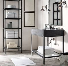 RH's Hudson Metal Single Washstand:We looked to the last century to inform our collection& aesthetic, creating an open-back sink and matching storage with the minimalist lines of the Vintage Industrial Decor, Industrial Bathroom, Bathroom Interior, Modern Bathroom, Small Bathroom, Master Bathroom, Industrial Lighting, Bathroom Ideas, Bathroom Laundry