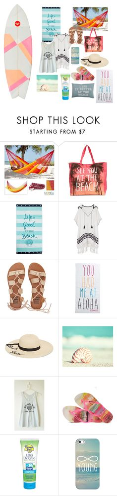 """""""See you at the beach"""" by goldenstarfish ❤ liked on Polyvore featuring NOVICA, Lexington, Tory Burch, Billabong, Rip Curl, Betsey Johnson, Havaianas, Banana Boat, Casetify and Park B. Smith"""
