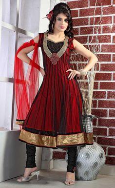 Black And Red Sleeveless Net Designer Salwar Kameez 15351