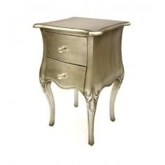 French Style Furniture 'Alice' Bedside Tables in Silver Leaf 2 Drawer: Amazon.co.uk: Kitchen & Home
