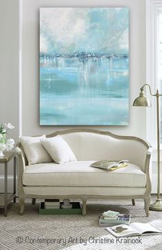 """""""Seaglass"""" Giclee Print / Canvas Print of Original Art Blue White Sea Foam Green Grey Abstract Painting. Stunning, as the details and layers of paint seem to take on an almost shimmering quality of light dancing on water that is as smooth as sea glass. Modern, California, coastal, gallery fine art. Beautiful organic, abstract, seascape, landscape, contemporary, large, wall art, perfect for contemporary coastal style / urban farmhouse home decor. Print of modern palette knife painting with…"""