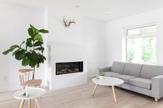 An open concept main floor allows for furniture to be re-arranged easily. Sometimes the sofa is placed in front of the window and other times it faces the gas fire place.